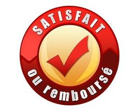 label satisfait ou remboursé rouge